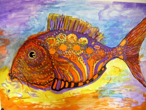 Dessin aquarelle poisson tropical