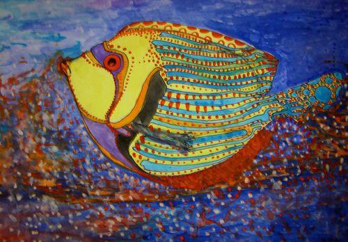 Aquarelle poisson arc en ciel