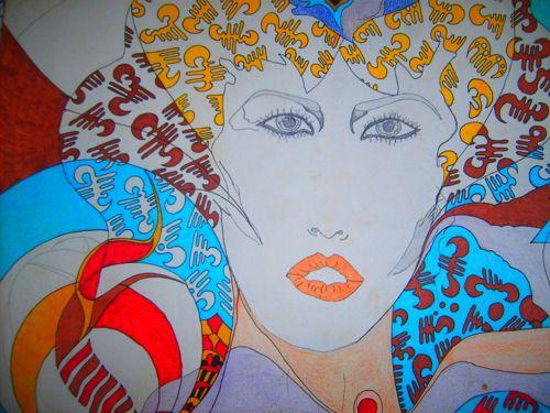 Feminin visage dessin