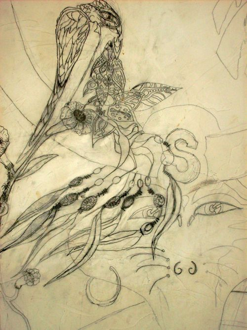 Fresque murale La becquée d'oiseau