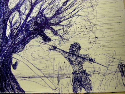 Dessin Lionne acculée dans un arbre